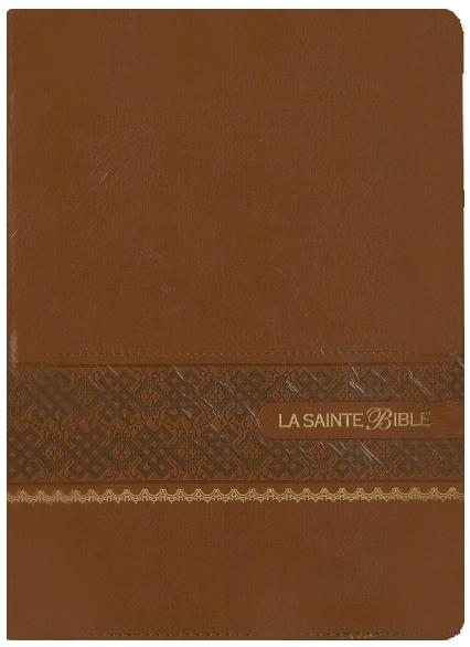 Bible, couverture souple, similicuir, marron, tranche or
